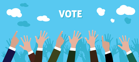 raise hand: people give vote with raise his hand blue background vector illustration