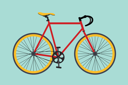 bike bikes isolated with red and yellow color vector illustration