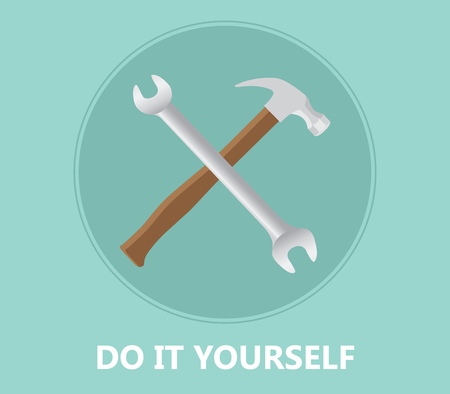 do it yourself: diy do it yourself icon with screwdriver and hammer vector illustration Illustration