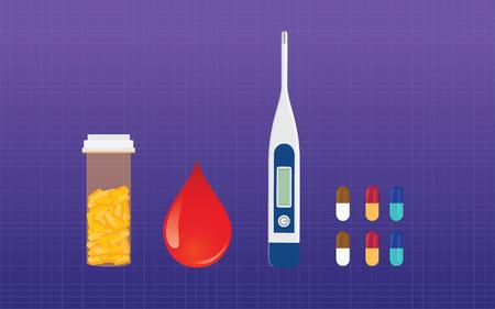 blood sugar: diabetes medicine drugs and blood test sugar test vector concept vector Illustration