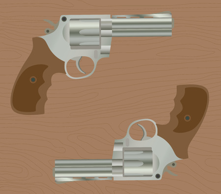 handgun: pistol handgun gun isolated revolver with wood background illustration