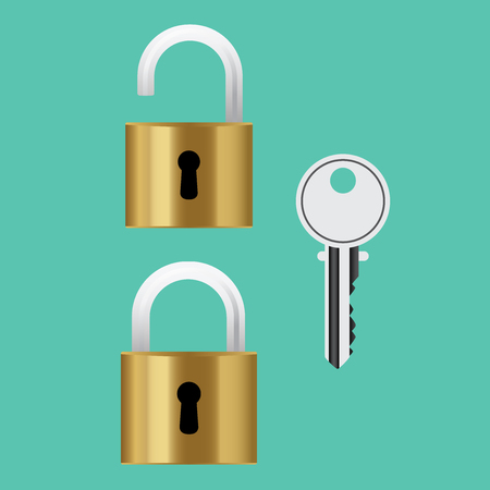 padlock lock steel with key isolated vector illustration