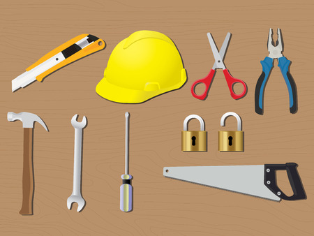 work from home: home tools renovation work construction vector illustration Illustration