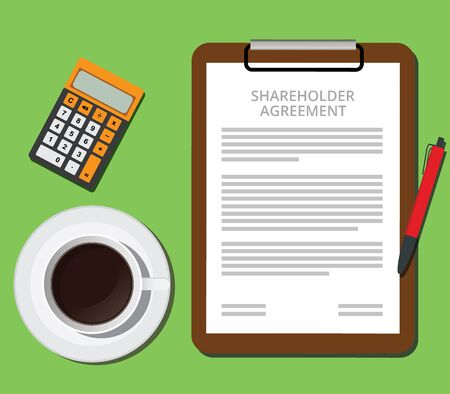 shareholder: shareholder agreement clipboard with document cup of coffee and calculator illustration