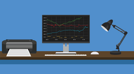 online trading concept computer pc manage graph and stock report vector Vector Illustration