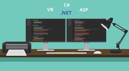 programmer workspace visual studio .net technology asp .net vb visual basic Vettoriali