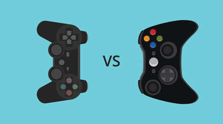 gamers: game console comparing compare versus vector illustration Illustration