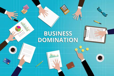 domination: business domination concept work in desk with graph document calculator clipboard data