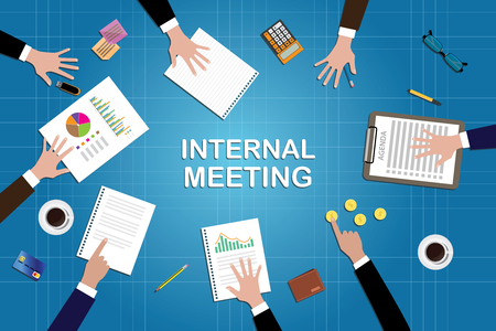 internals: internal meeting concept work in desk with graph document calculator clipboard data