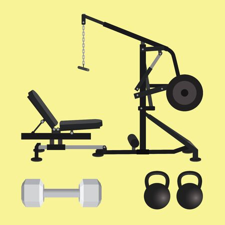 pull: gym equipment with dumbell kettlebell and lat pull down tools vector Illustration