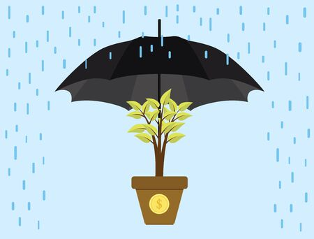 protect: investment invest protection umbrella protect trees gold coin vector illustration