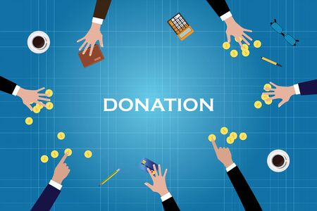 donates: give donation donate help people money gold coin vector illustration Illustration