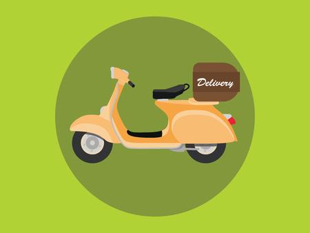 vespa: delivery vespa with box and orange vector illustration Illustration