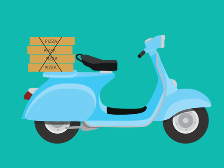 boxed: delivery pizza with vespa to order and delivery vector illustration Illustration