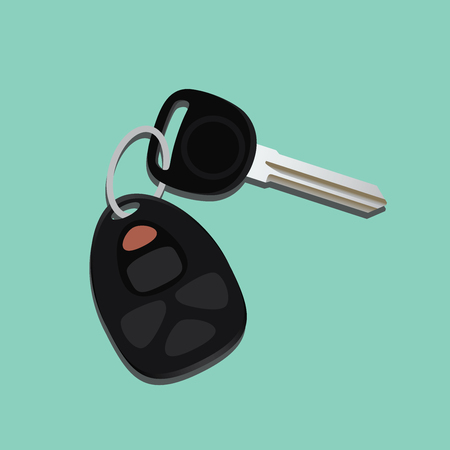 car security: car keys isolated with black and green background vector illustration