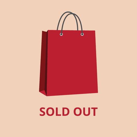 esaurito rosso shopping illustrazione sacchetti sacchetto di carta vettore