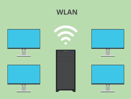 wlan: wlan wireless local area network vector illustration