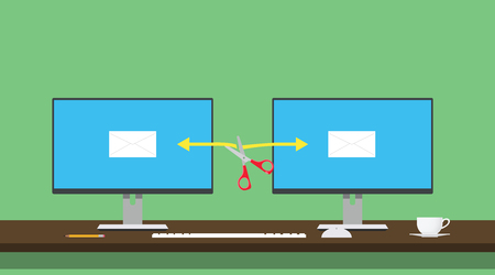 hijacked: email hijack illustration two computer data transfer hijacked hacked vector illustration