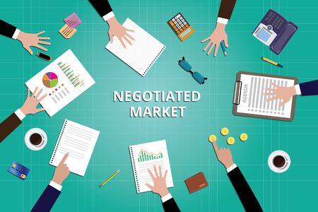 ceo: negotiated market marketing team work together vector illustration Illustration