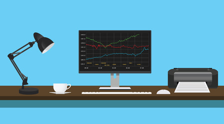 mutual: mutual funds data graph in monitor desk with lamp printer vector illustration Illustration