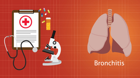 emphysema: bronchitis disease with medical record clipboard microscope medicine vector illustration