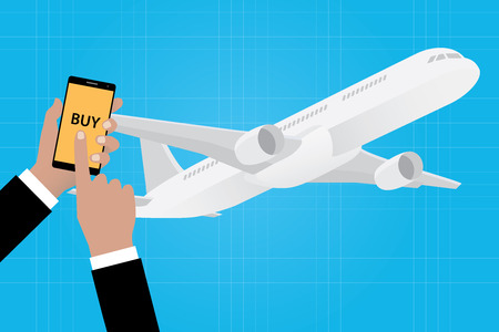 airline: buy online ticket airline airlines with smartphone app apps vector illustration
