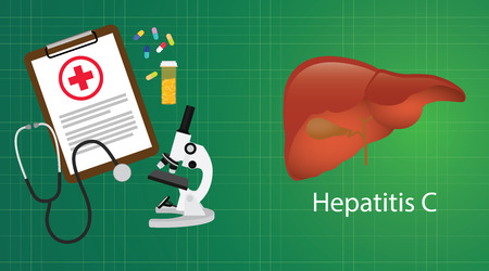 hepatitis vaccination: hepatitis c in liver with medical report microscope medicine vector illustration