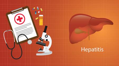hbv: hepatitis a b c in liver with medical report microscope medicine vector illustration Illustration