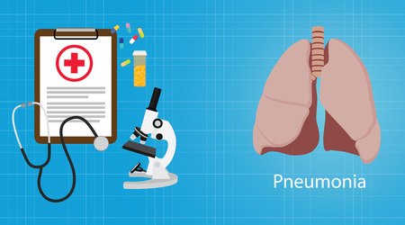 pneumonia: pneumonia in lungs with medical report microscope medicine vector illustration