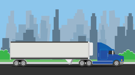 truck trailer blue transportation on the highway with city background vector illustration Çizim