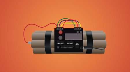 timebomb: bomb dynamite isolated with timer and wire and orange background vector