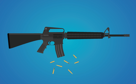 ammunition: m16 riffle gun isolated with ammunition shell vector illustration Illustration