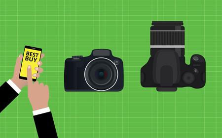 slr: choose and buy the best camera slr vector illustration