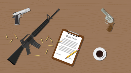45 caliber: gun law legal illegal with document paper pistols riffle and ammo cartridge vector illustration