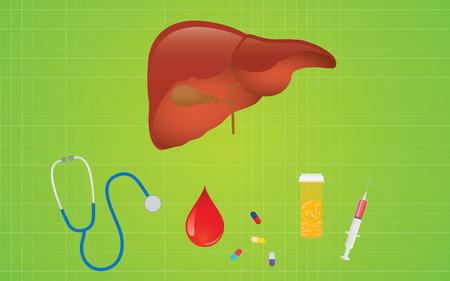 hepatitis b: liver hepatitis disease with mediicine pills and healthcare icon vector Illustration