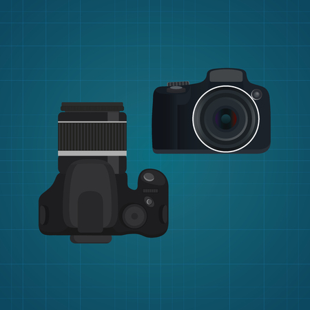 slr: camera slr dslr vector illustration from front and top view vector