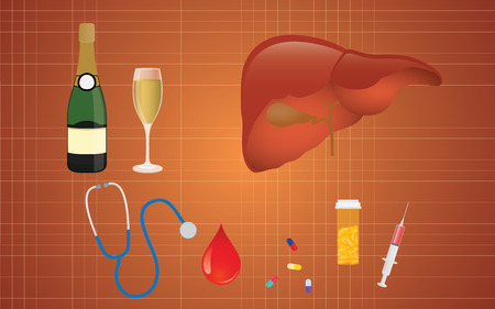 cirrhosis illustration with liver and medicine and alcohol as the real cause vector illustration Illusztráció