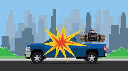 explosive watch: bomb car explosion terrorist with dynamite and suv and city as background vector