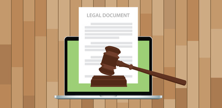 legal document with gavel and laptop vector illustration Ilustração