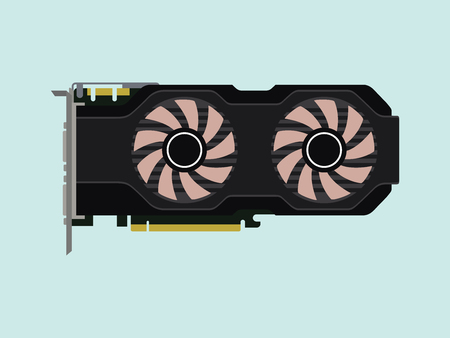 dvi: video graphic card isolated flat with green background vector