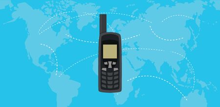 world receiver: satellite phone isolated with world map as background vector
