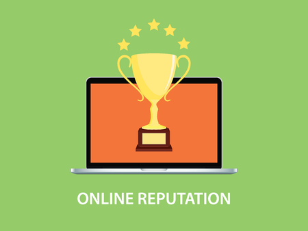 ilustración de la reputación en línea con el cuaderno del ordenador portátil y el trofeo de oro de vectores