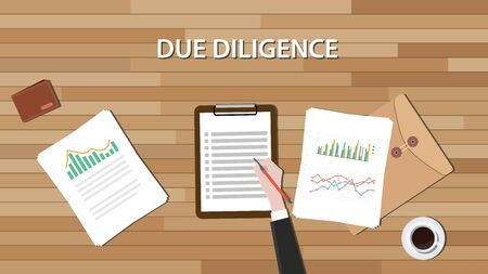 diligence: due diligence business review with paper document and graph vector