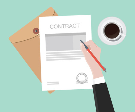 sign contract: sign contract on paper document vector illustration