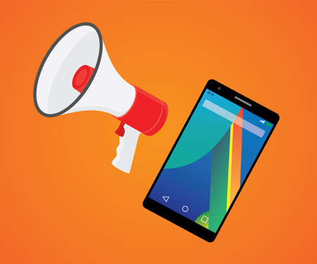mobile marketer promotion with smartphone and megaphone vector illustration Illustration