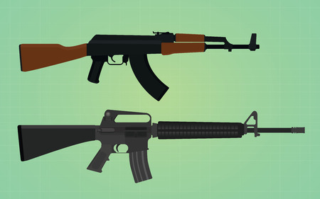 m16 ammo: ak-47 vs m16 comparation with green backround  vector