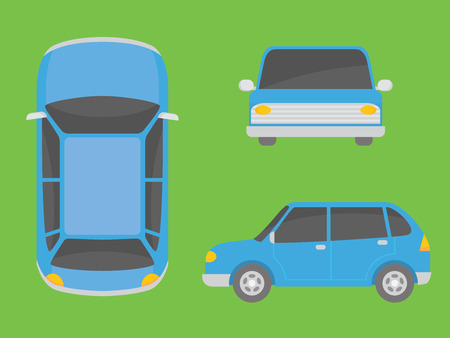 car illustration view from all side font side top vector