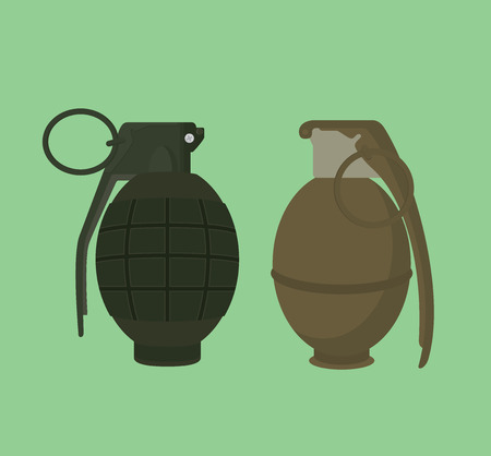 frag: grenade isolated illustration vector with green background vector