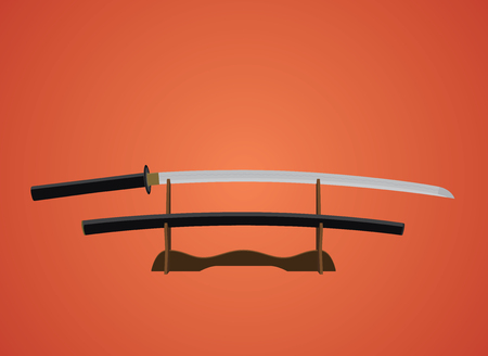 katana sword: katana sword samurai japanese with red background vector