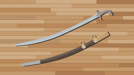 cold pack: arabian sword with wood table background vector illustration